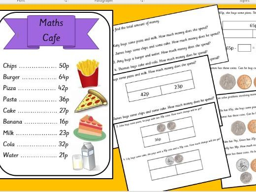 MATHS CAFE  year 2 KS1 differentiated money activity finding total and change addition subtraction