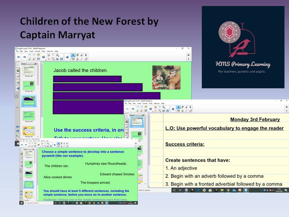Children of the New Forest - Story writing- historical setting smart board
