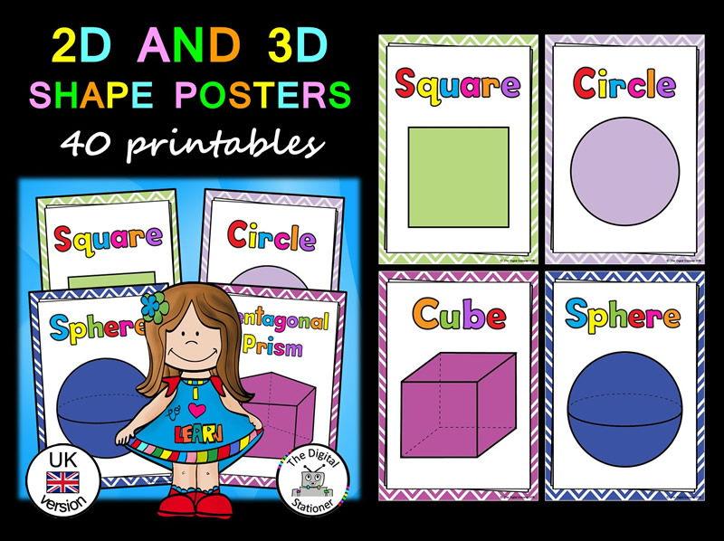 Shape Posters (2D & 3D) (UK version) - 40 printables