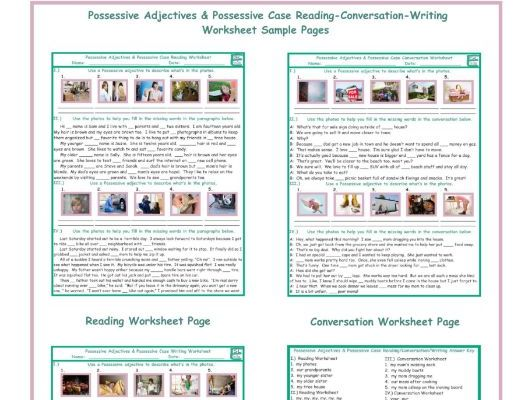 Possessive Adjectives-Case Reading-Conversation-Writing Worksheets