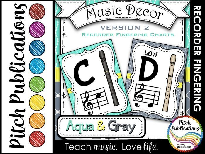 Recorder Fingering Chart Posters v2 Black/Tan- Music Decor Aqua Gray