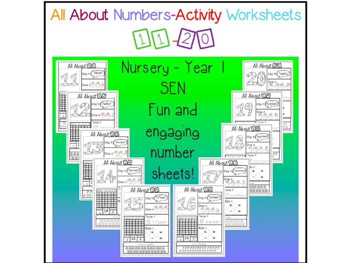 All About Numbers - 11-20 - no prep activity worksheets