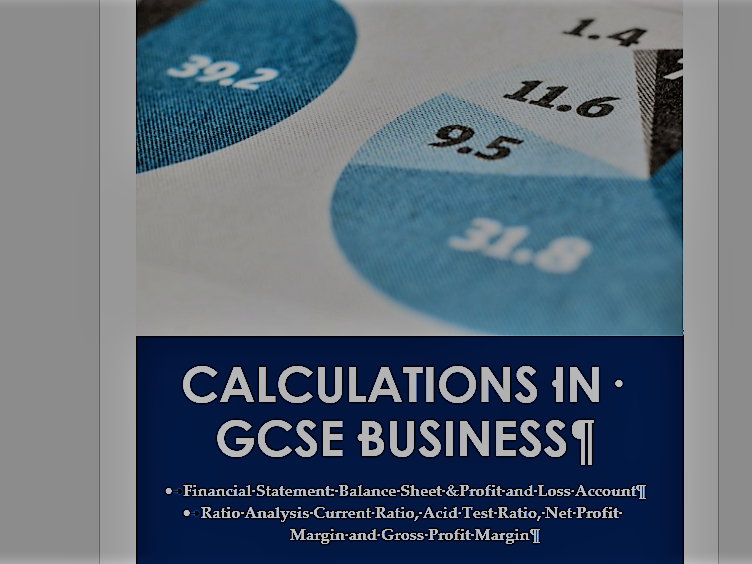 GCSE Business Revision notes Financial Statements and Ratios