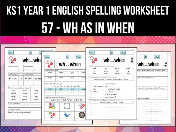 Spelling & Phonics Worksheet - w sound spelled WH