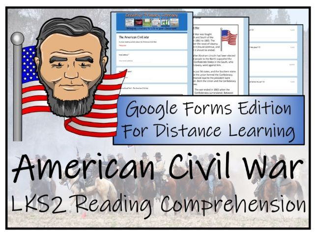 LKS2 American Civil War Reading Comprehension & Distance Learning Activity