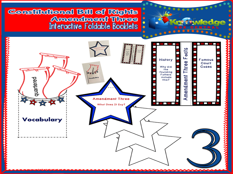 Constitutional Bill of Rights: Amendment Three Interactive Foldable Booklets