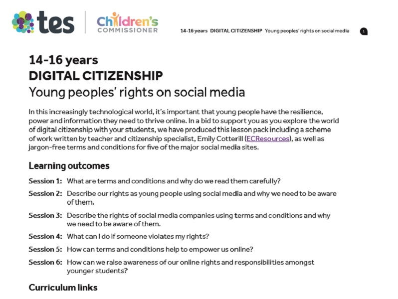 Digital citizenship: Young peoples' rights on social media - Teaching pack for 14-16 year olds