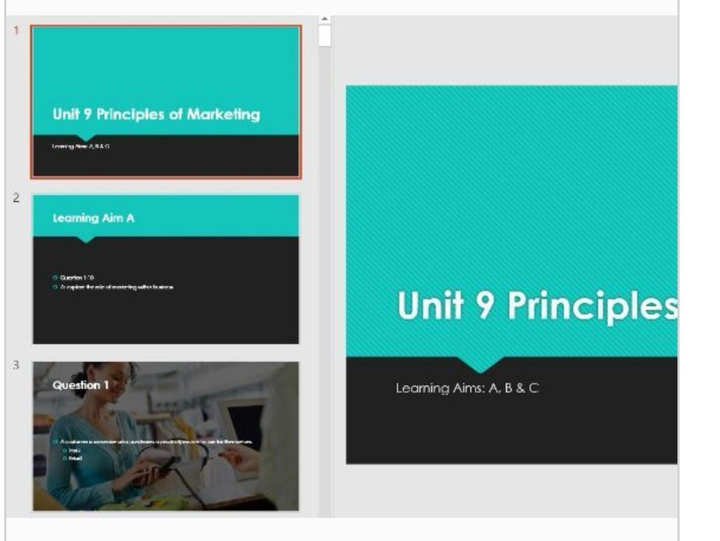 Unit 9 Principles of Marketing QUIZ Revision