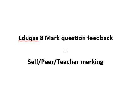 C Question (8 Marks) Feedback Sheet Eduqas / WJEC Religious Studies