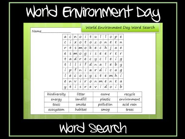 World Environment Day Word Search