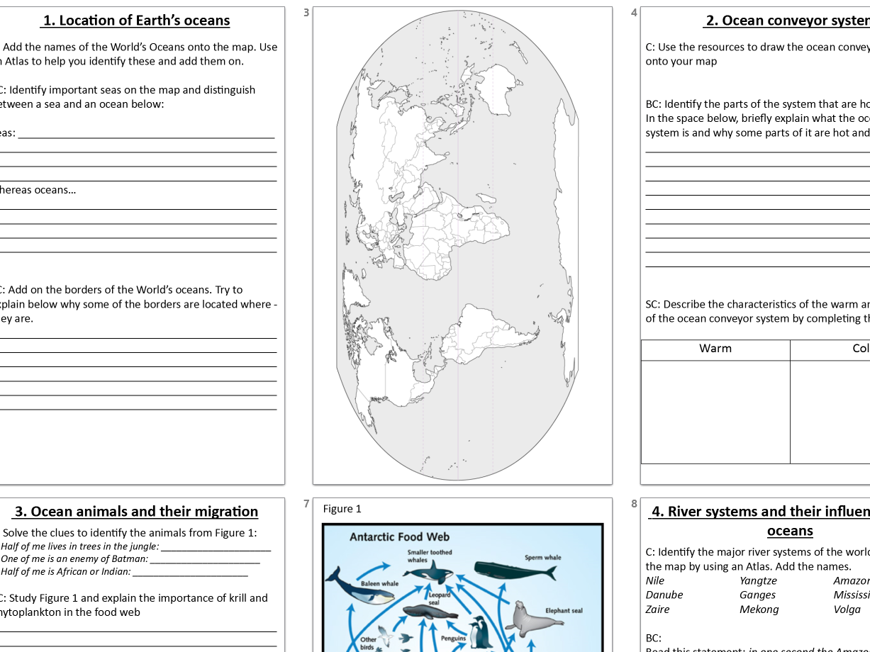 KS3 Geography worksheet bundle