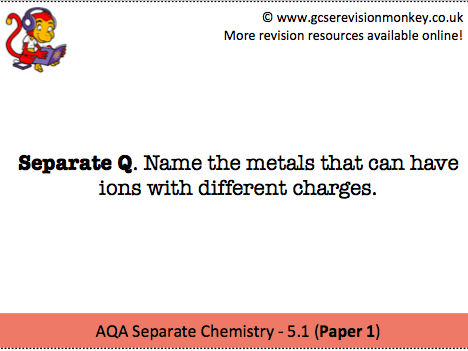 Revision Cards - AQA Separate Chemistry 5.1