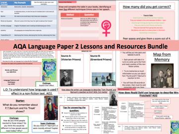 Non-Fiction Language Paper 2 Lessons and resources bundle!