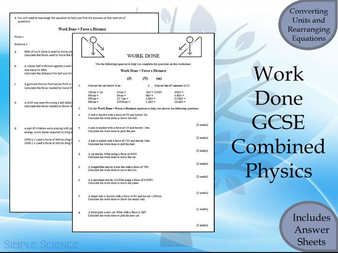 GCSE Physics Paper 2  - Work done Calculations Worksheet with Answers