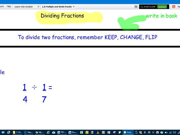 Multiply and divide fractions- whole lesson