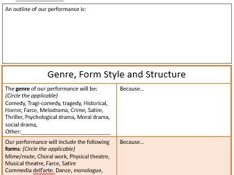 Genre, Form, Style and Structure planning sheet