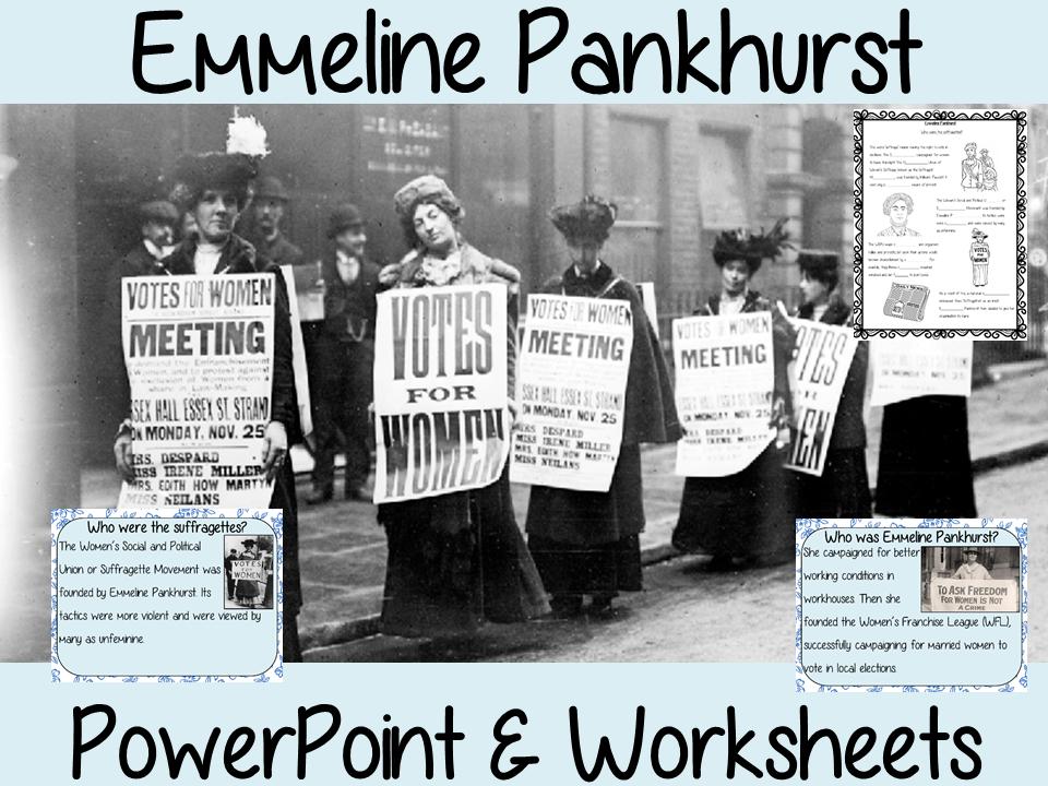 Emmeline Pankhurst PowerPoint and Worksheets Lesson