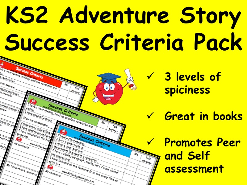 Adventure Story Success Criteria - 3 levels of differentiation KS2 Year 3, 4, 5, or 6