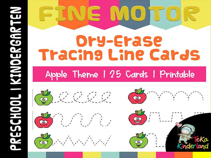 Apple Theme Tracing Lines Printable | Fine Motor Skill Activities TeKaKinderland
