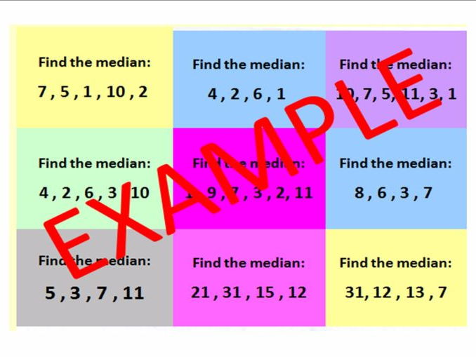 Finding the median (including decimals & harder examples) and CATCHPHRASE ACTIVITY