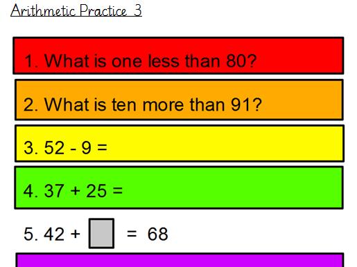 Arithmetic Practice (Year 2)