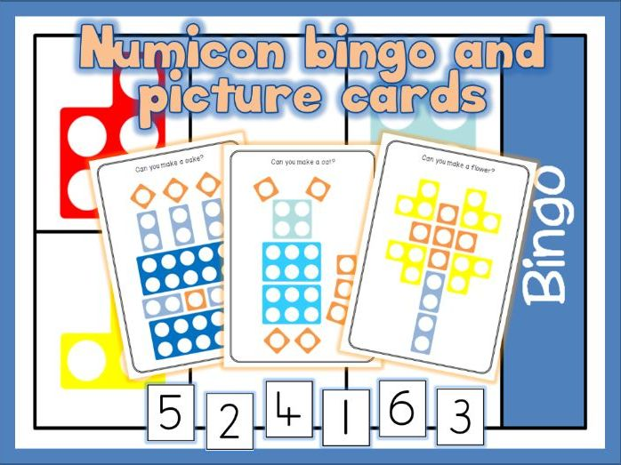 Numicon bingo game 1 - 6, numicon bingo 5 - 10 and numicon picture cards