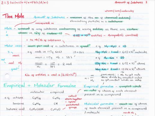 OCR A Level Chemistry Amount of Substance Revision Poster