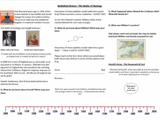 Battlefield Britain: Battle of Hastings 1066 - Worksheet to support the BBC Documentary