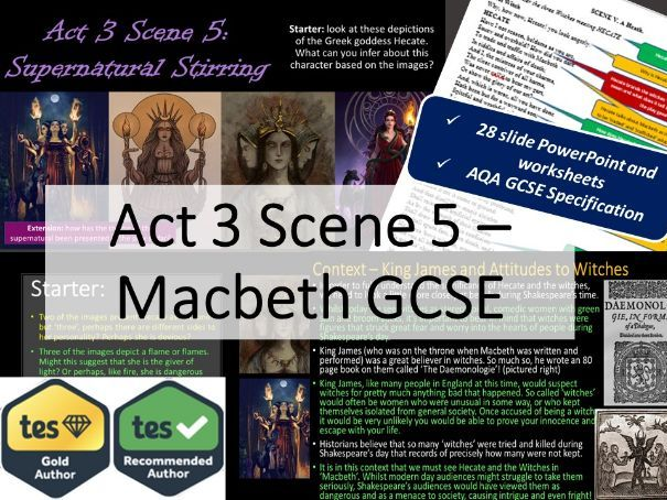 Act 3 Scene 5 Macbeth GCSE English Literature. Full lesson PowerPoint and resources.