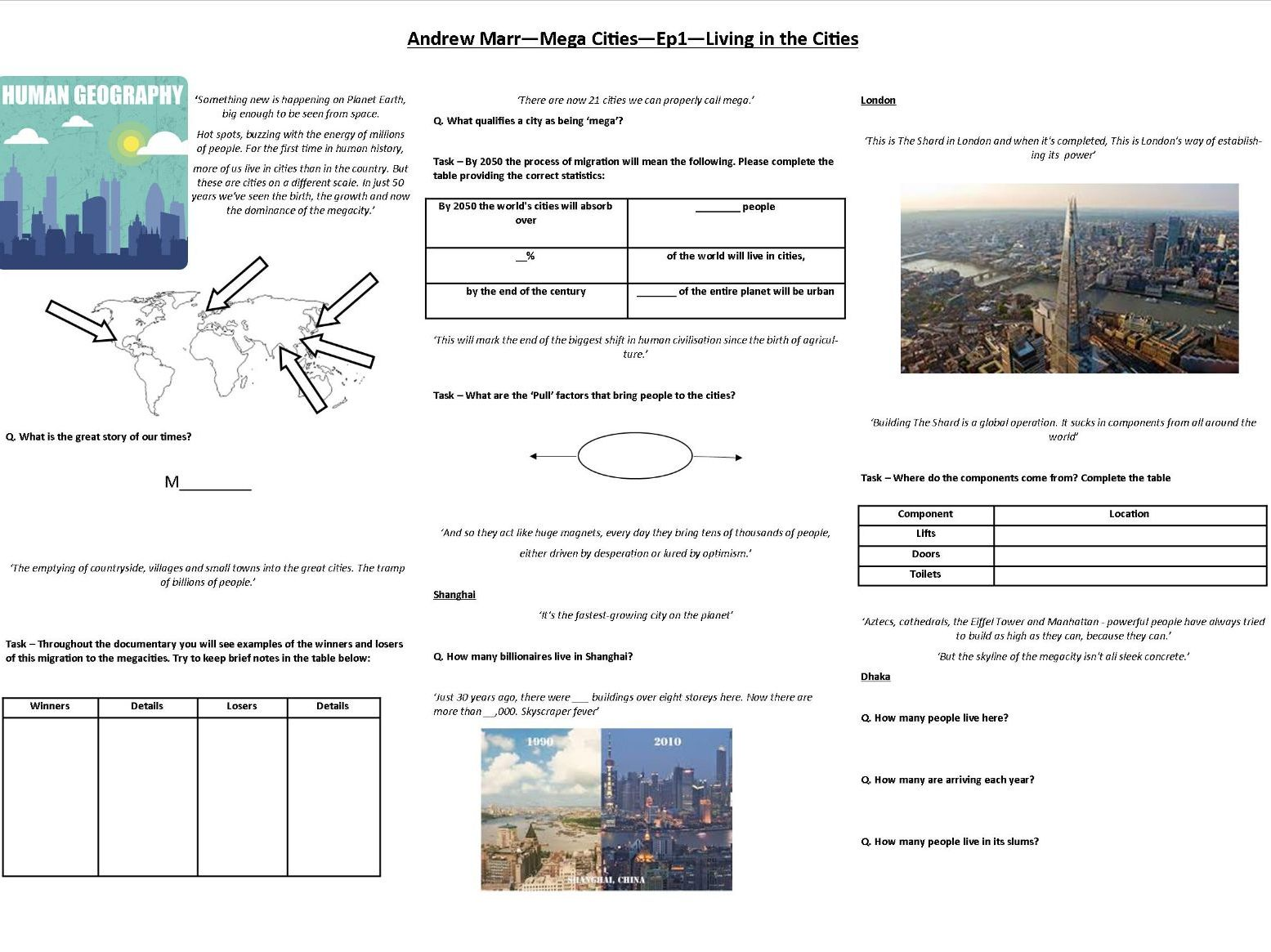 Andrew Marr - Mega Cities - Worksheets to support the BBC TV Documentary