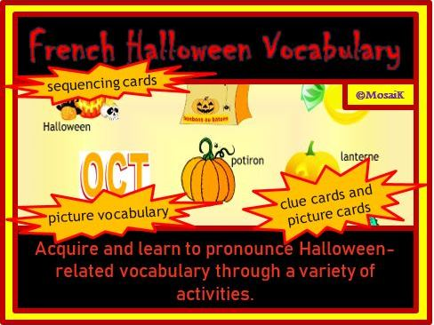 French: Halloween Vocabulary Activity Pack - 42 illustrated items