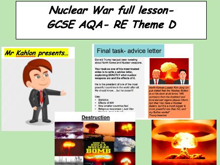 Nuclear War full lesson- GCSE AQA -RE theme D