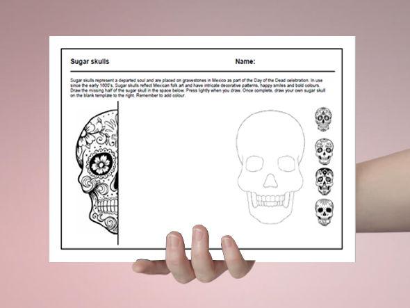 Art cover work / cover lesson - Sugar skull design - 1hr activity