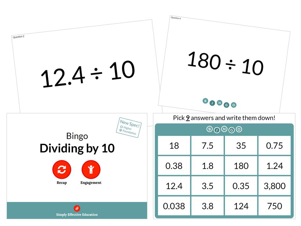 Dividing by 10 (Bingo)