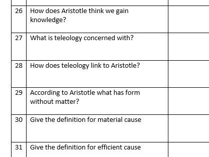 Ancient Philosophical Influences Knowledge Test and answer sheet. Alevel Religious Studies