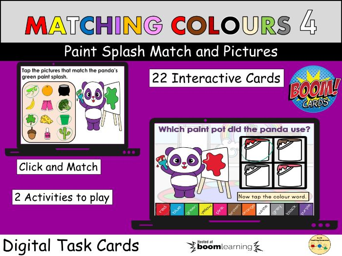 Colours Matching Objects to Colour Paints BOOM Cards Distance Learning Visual Discrimination