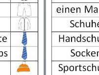 German clothes vocab matching cards