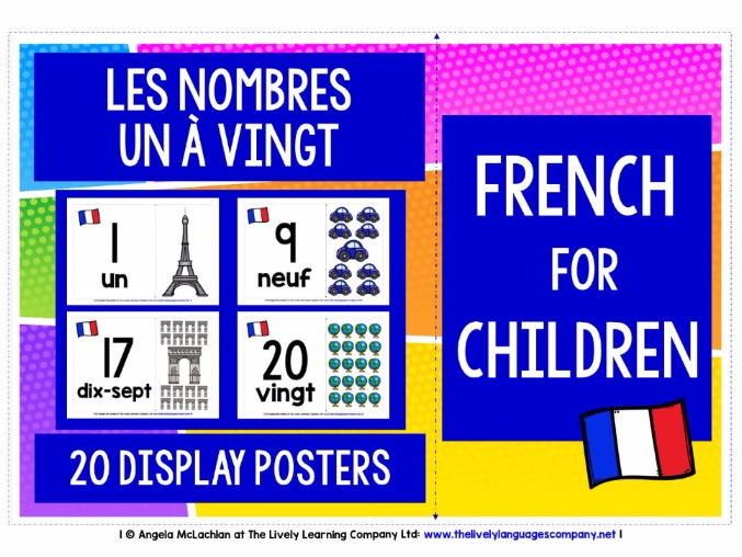 BACK TO SCHOOL PRIMARY FRENCH - NUMBERS 1-20 DISPLAY POSTERS / FLASHCARDS