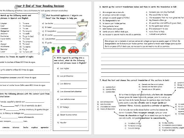 Year 9 Reading Revision: worksheet