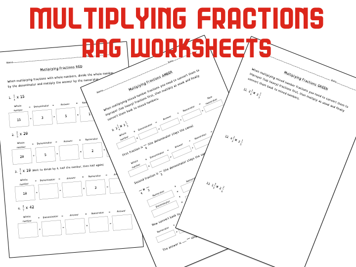 Multiplying Fractions - Differentiated three ways - RAG