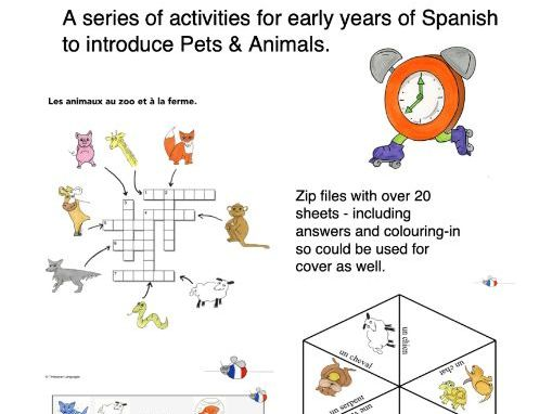 Pets Spanish - Games, Puzzles, Worksheets, Cover - Mascotas Animales
