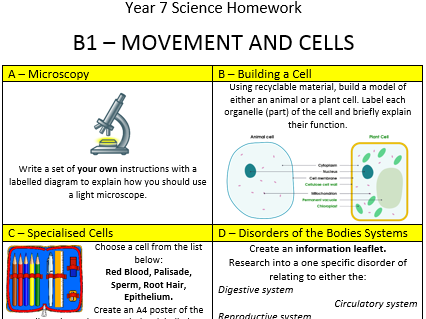 Year 7 Homework - Biology Topic 1 - Movement and Cells - KS3