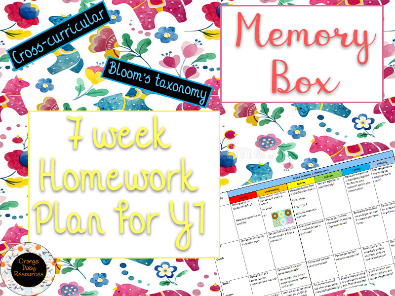 7 week Memory Box Homework Grid for Y1