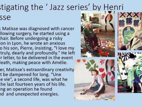 PP investigating Jazz series by Matisse, skills collage