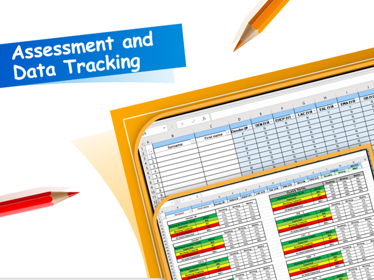 Assessment and Data Tracking Tool for Reading, Writing and Maths - Self Populating percentages