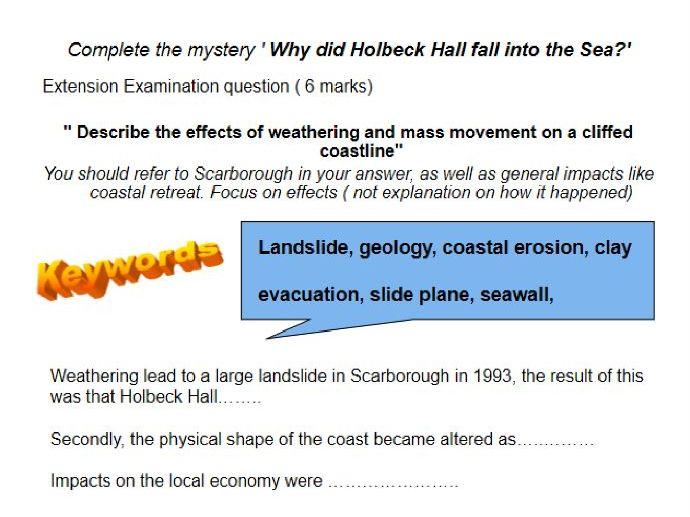 UK coastal mass movement example; Holbeck Hall
