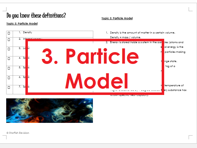 AQA GCSE 9-1 Physics: REVISE YOUR DEFINITIONS! Topic 3: Particle Model of Matter