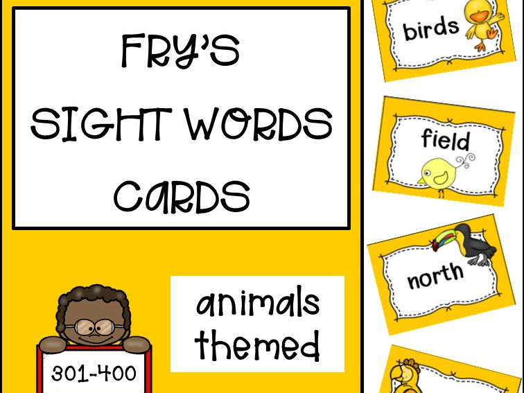 Fry's Sight Words Cards fourth hundred - Animals Themed