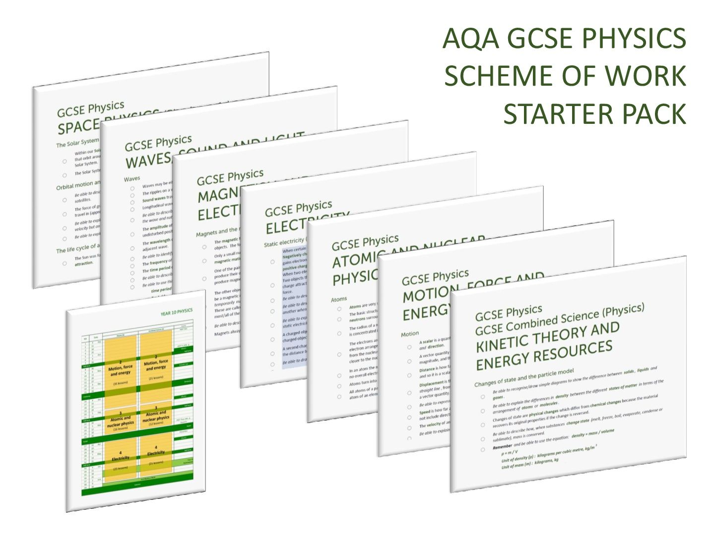 PHYSICS SCHEME OF WORK STARTER PACK for AQA GCSE Physics