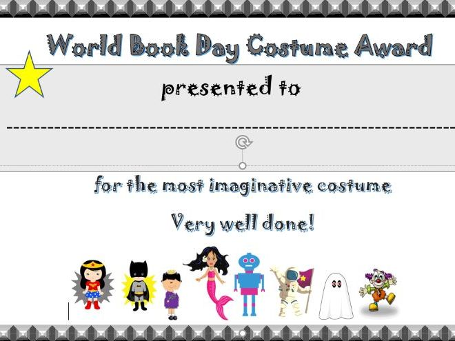 KS1 and 2 World Book Day 31 Pupil costume (dress up) certificates.